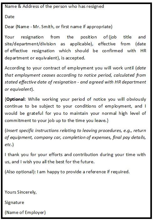 Resignation Acceptance Letter Format  Resignation Letter Help