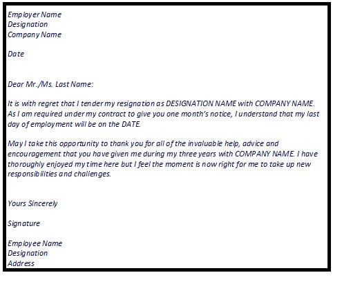 Example Of Resignation Letters