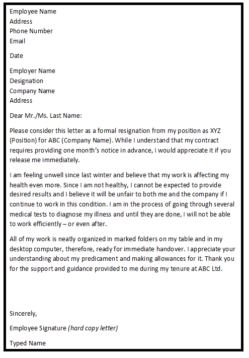 Immediate Resignation Letter Samples Resignation Letters Help – Immediate Resignation Letter