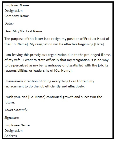 Resignation Letter Format For Personal Reason  Reason For Resignation