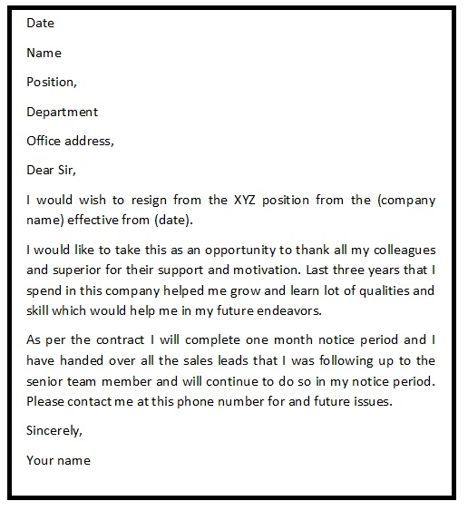 Beautiful Polite Resignation Letter Sample