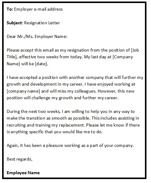 Resignation Email Sample Format – Resignation Email