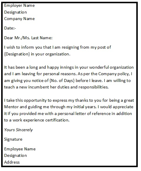 Resign Letter Format  Simple Resignation Letter  Simple
