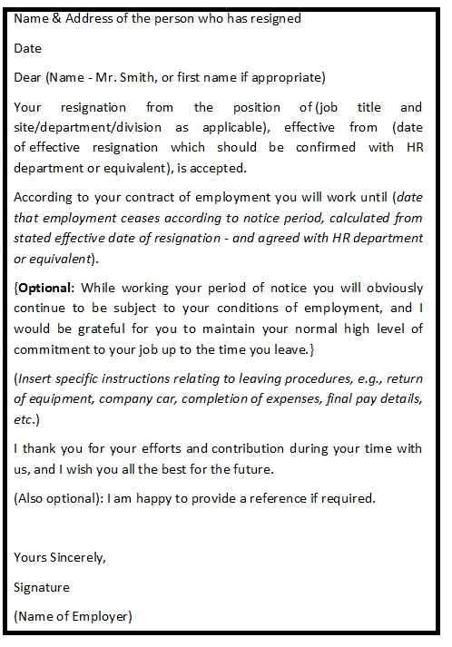 Resignation acceptance letter format resignation letter help resignation acceptance letter format expocarfo Gallery