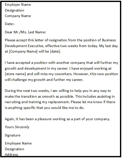 Resignation Letter Sample With Reason