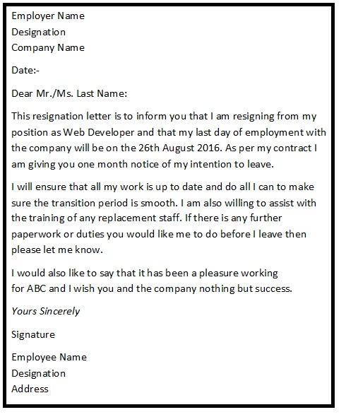 Letter Of Resignation Example