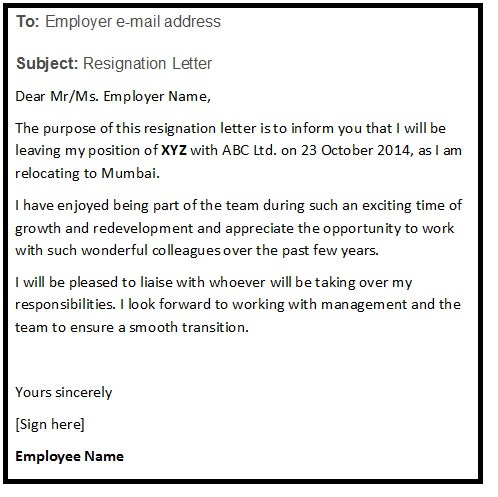 Resignation Letter Email Format from www.resignationletterhelp.in