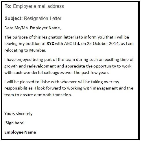 Resignation Email Sample Format