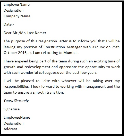 Resignation letter format for personal reason reason for resignation reason for resignation expocarfo Choice Image