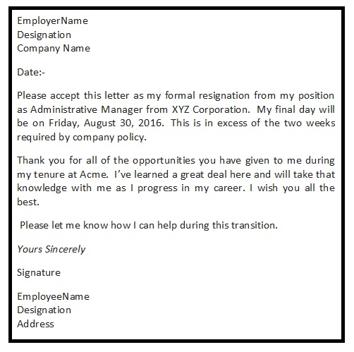 Polite Resignation Letter Resignation Letter Format With Reason