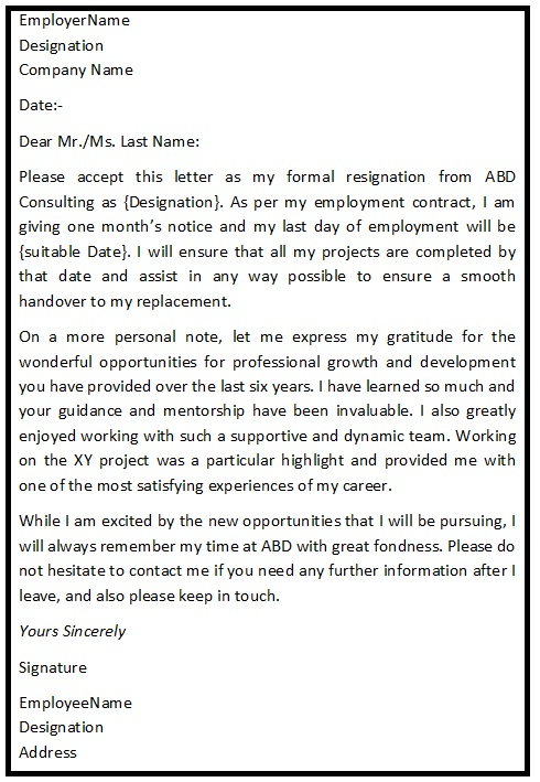 Simple Resignation Letter Format
